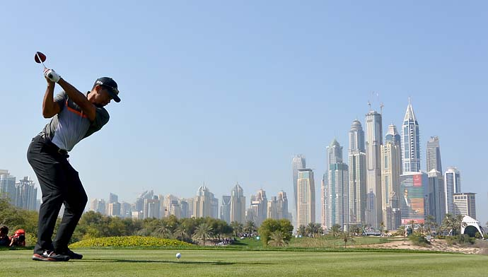 Tiger Woods on the 8th tee during the first round of the Omega Dubai Desert Classic on the Majlis course at the Emirates Golf Club.
