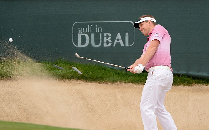 Stephen Gallacher in action during the third round of the Omega Dubai Desert Classic.