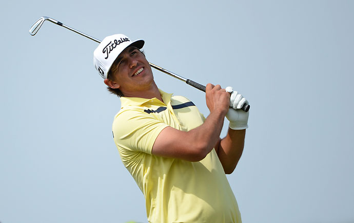 Brooks Kopeka in action during the third round of the Omega Dubai Desert Classic.