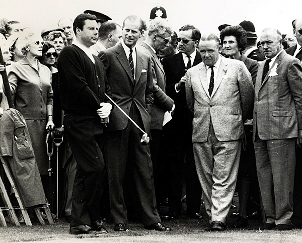 From left to right: Peter Alliss, Prince Philip and Henry Longhurst at a Blackpool tournament in July 1963.