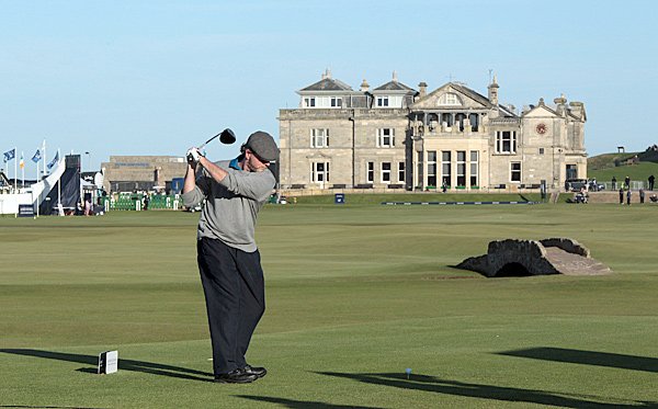 Irish American actor Aidan Quinn, one of many celebrities at the event, played his round at the Old Course at St. Andrews.