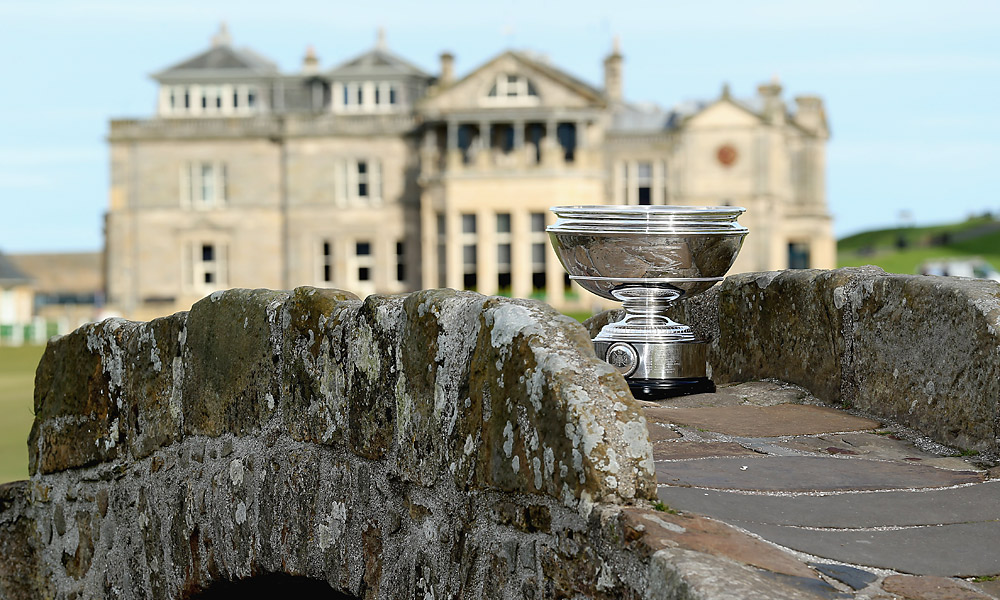 The Alfred Dunhill Links Championship trophy on the famous Swilcan Bridge at St. Andrews.