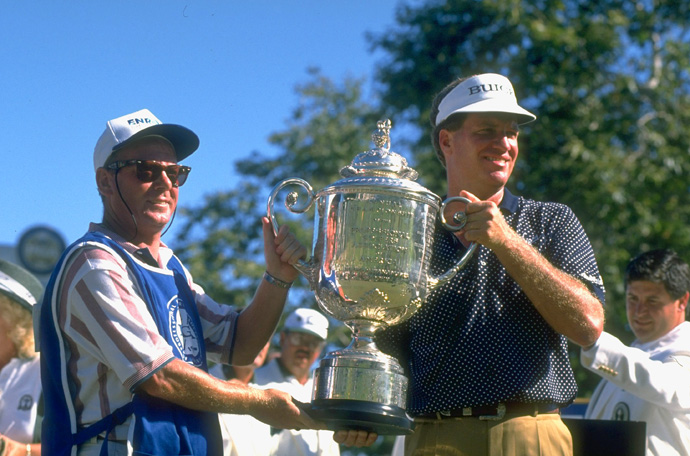 Elkington Tops Monty at the 1995 PGA Championship                     After Ernie Els squandered a three-shot lead, Colin Montgomerie and Steve Elkington met in a playoff in the final major of the year. Already saddled with a reputation as the greatest player to never win a big one, Monty kept the title when Elk dropped a 25-footer on the first extra hole.