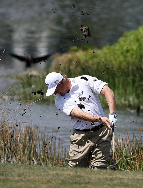 Ernie Els found himself in the water on the sixth hole. He shot a three over 73.