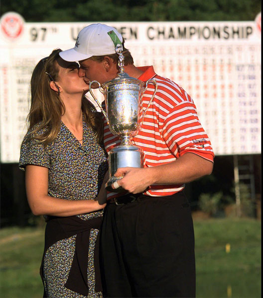 Ernie Els kisses his future wife, Liezl Wehmeyer, after winning the 1997 U.S. Open Sunday, June 15, 1997, at the Congressional Country Club in Bethesda, Md.