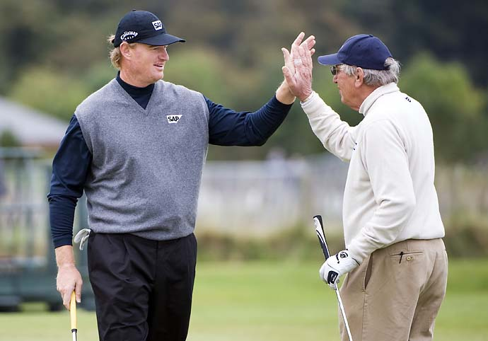 Ernie Els partners with his father Neels Els during the second round of the Alfred Dunhill Golf Championship at St Andrews in Scotland, on Oct. 2, 2009.