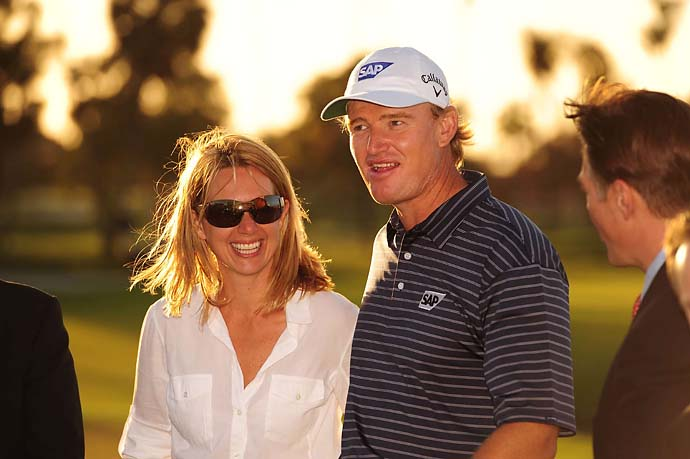 Ernie Els with wife Liezl after winning at Doral in 2010.