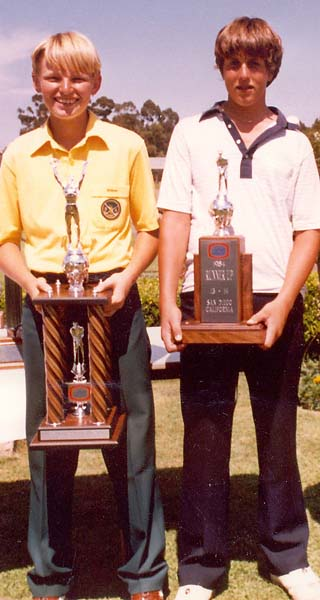 Ernie Els (right) winning the 1984 World Junior Golf Championship at Torrey Pines. He beat Phil Mickelson.
