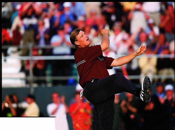 Ernie Els tosses his hat after winning the 2002 British Open in sudden death at Muirfield.
