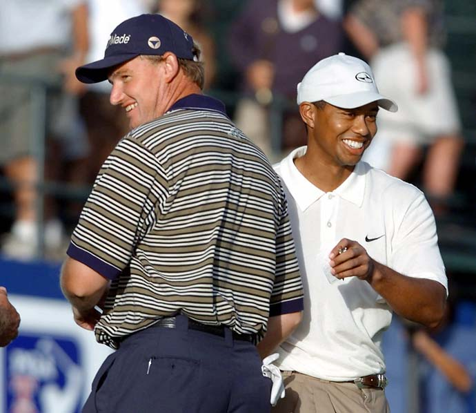 Longtime adversaries Ernie Els and Tiger Woods at the 200 Mercedes Championship. Woods considers Els one of his greatest rivals.