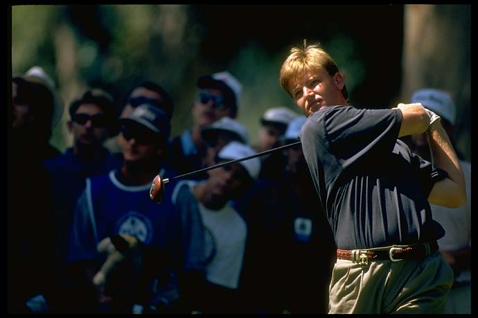Ernie Els driving at the 1995 PGA Championship at Riviera Country Club in Los Angeles.
