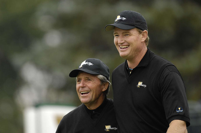 Two South African legends: Gary Player and Ernie Els at 2007 Presidents Cup at Royal Montreal GC.