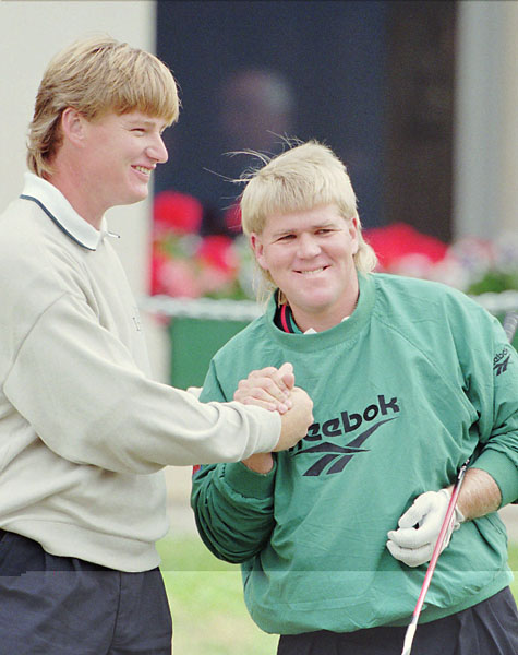 Ernie Els and John Daly on the first tee at St. Andrews Old Course, Sunday, July 23, 1995, during the final day of play in the Open Golf Championship.
