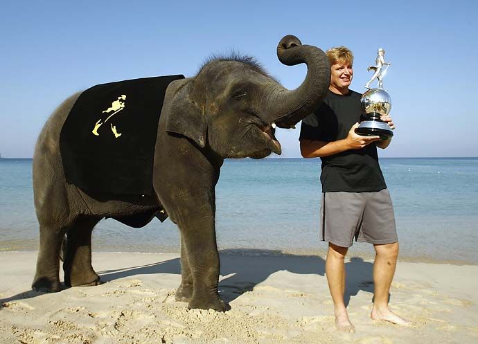 Ernie Els with Yum Yum, a 4-year-old female Thai elephant during the launch of the 2007 Johnnie Walker Classic on the beach at the Sheraton Grande Laguna Phuket Hotel, Feb. 27, 2007 in Phuket, Thailand.