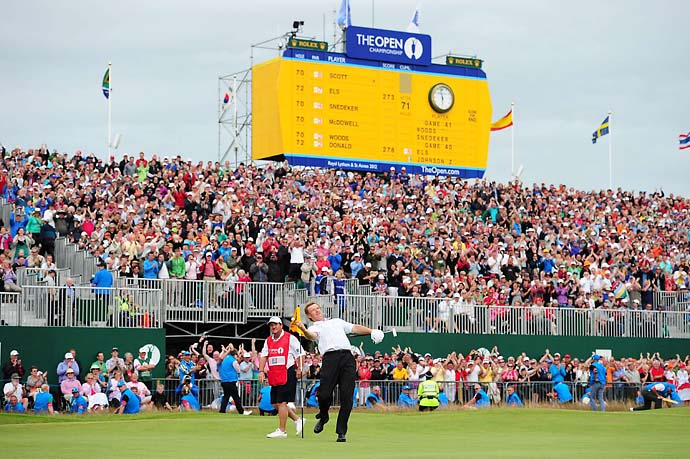 Ernie Els on the 18th green Sunday at the 2012 Open Championship at Royal Lytham & St. Annes.