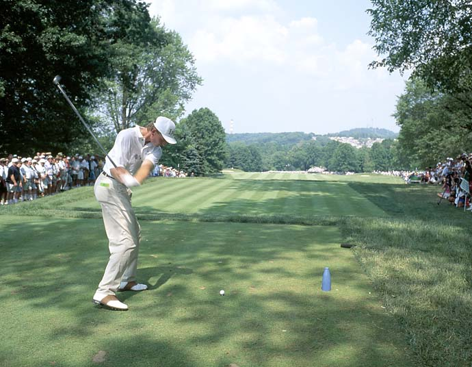 Ernie Els tees off on the 10th hole during the 1994 U.S. Open held at the Oakmont Golf Club, Els' first major win.