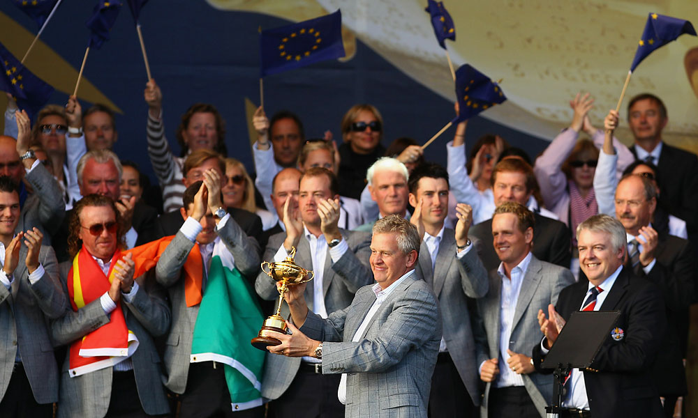 The European team then celebrated with the Cup.