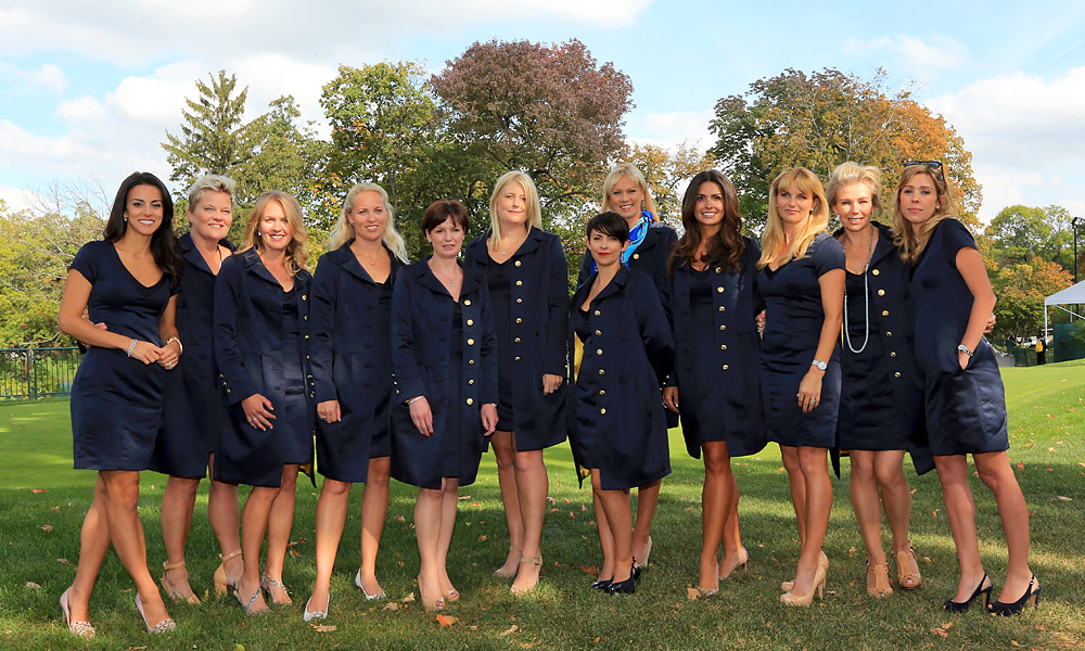 The wives and girlfriends of the European Ryder Cup team gathered just prior to the Opening Ceremony on Thursday.