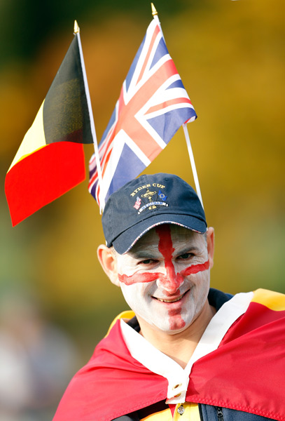 This European fan was supporting several countries.
