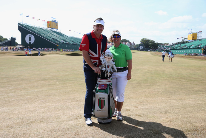 Nick Faldo posed for a photo with his former caddie, Fanny Sunesson.