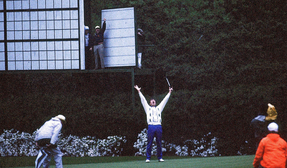 Faldo holed a 25-foot birdie putt on No. 11, the second playoff hole, to win the first of three Masters titles.