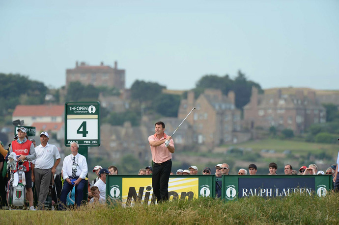 Sir Nick Faldo, who won two claret jugs at Muirfield, opened with a 79.