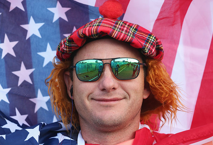 The hair, the hat and the flag. A perfect blend.