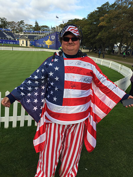 The American flag doubles as wings. Also, bonus points for getting autographs across his chest.