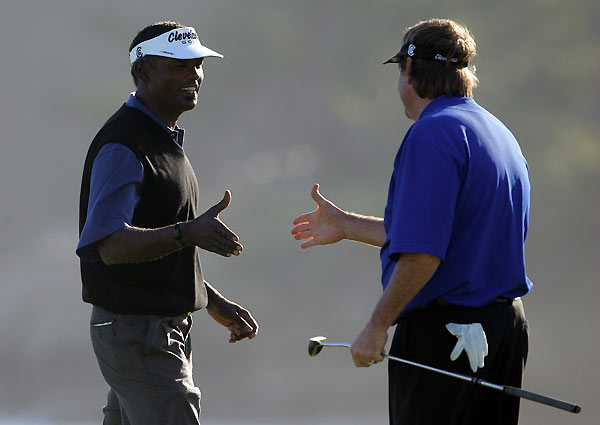 Final Round of the AT&T Pebble Beach National Pro-Am                       Steve Lowery, right, defeated Vijay Singh in a playoff to win the AT&T Pebble Beach National Pro-Am.