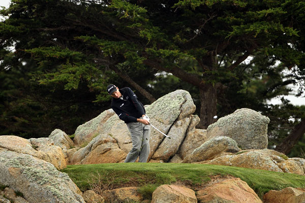 made four birdies and three bogeys at Monterey Peninsula C.C. for a 69.