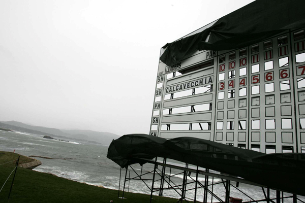 The scoreboards were left unattended when the nasty weather rolled in.                                           More from GOLF.com                     • Photos: Stars and Pros at Pebble                     • Photos: Wie comes up just short                     • Wait Watcher: Johnson's win takes a while                     • Tour Confidential: Discussing Wie and Tiger                     • Course Finder Profile: Pebble Beach