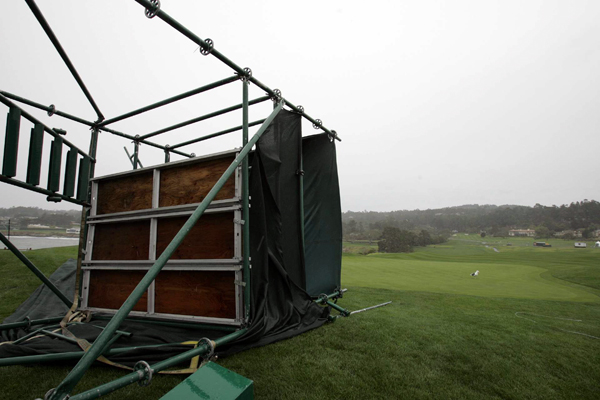 High winds also toppled a tower behind the 17th green.