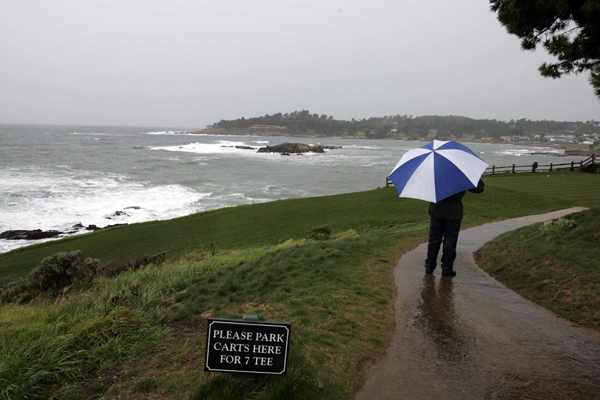 For Pebble's first three rounds, the tournament dodged the inclement weather. No such luck on Sunday and Monday.