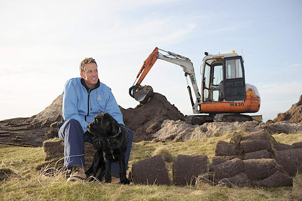 """Eric Iverson, on loan from Tom Doak's Renaissance Golf Design and using a """"wee digger,"""" got right to work building new tee boxes after arriving at Askernish Old."""