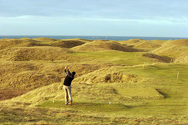 The fairways and greens of the current course were mowed by volunteers to create an approximation of the original.