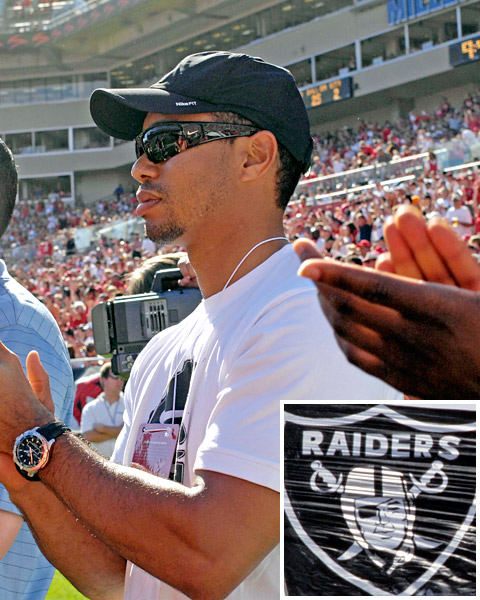 Tiger Woods: Oakland Raiders While Tiger's NBA fidelity has been called into question (he professes loyalty to the Lakers but is a regular and enthusiastic Magic fan), he has remained steadfast in his support of the Oakland Raiders, who played in Los Angeles when Tiger was growing up in Southern California.
