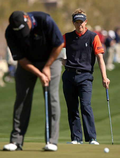 Luke Donald lost to Angel Cabrera 2 and 1. Cabrera will face Steve Stricker, who beat Hunter Mahan in 20 holes.