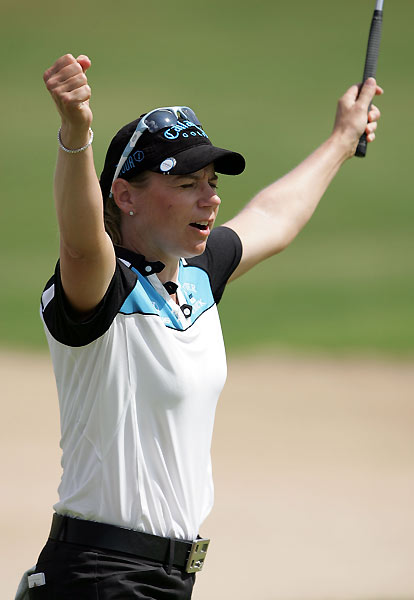 Annika Sorenstam made a double bogey, a bogey, and four birdies on the back nine to finish fourth.