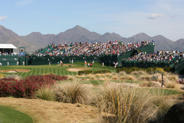 The infamous 16th hole stadium was filled with fans Thursday.