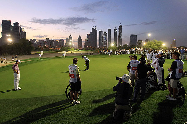 This shot is from the par-3 challenge match at the preview for the 2010 Omega Dubai Classic in Dubai on Tuesday.