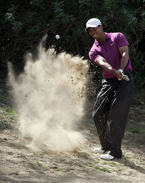 Second-round leader Tiger Woods made a bogey on the par-5 18th to shoot a one-over 73.