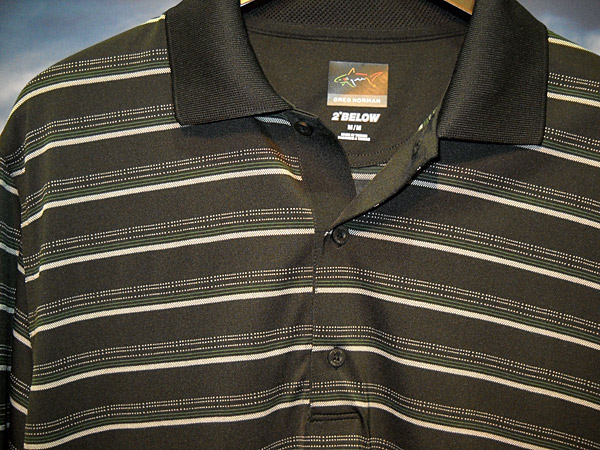 "Major Tom to Ground Control: A number of vendors at the recent PGA show offered golf clothes with science fiction features, like temperature control. This shirt from the Greg Norman collection is made from a fabric dubbed ""2 below,"" said to lower body temperature 2 degrees. It's a built-in feature of the yarn, according to Bjorn Bengtsson, the company's design guru, which is made of polyester microfiber and cooling rayon."