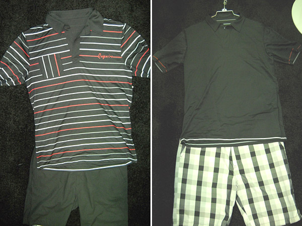 Reversibility is a trend in golfwear, enabling the wearer to get a little extra yardage from his clothes. Here, a vivid striped shirt that reverses to all black, paired first with black shorts. The shorts, in turn, reverse to green plaid. Both from Quagmire Golf.