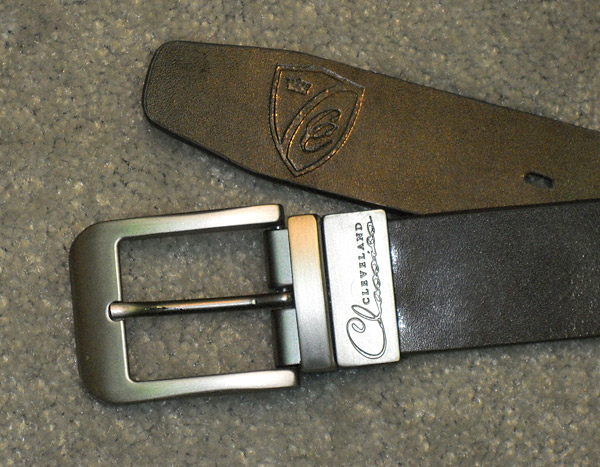 The reversible concept applied to belts: one side black, the other side brown. A clever hinge in the buckle allows the wearer to switch sides. From Cleveland Classics, $50.