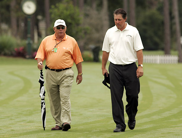 "Phil Mickelson/Butch Harmon                       6/6/07  ""Tiger's got a big lead as Number 1, so . . . it'll                       take a couple of years, but I think (Phil) can and . . . will.""                       Rank Then: 2nd                         Now: 2nd                       Prospects: The window is closing"