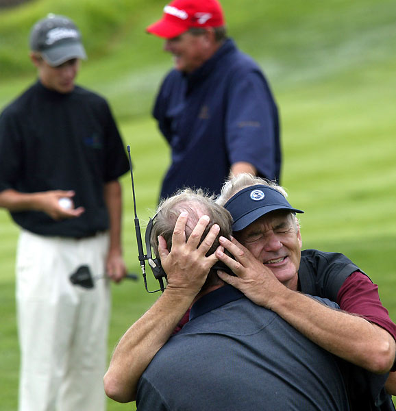 Even golf announcers aren't immune to Murray's antics. In 2006, Murray hugged it out with the Golf Channel's Mark Rolfing.