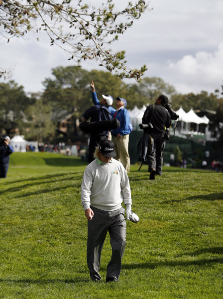 Unable to identify his ball, Hoffman headed back to the tee. He made a triple bogey and finished with a 74.