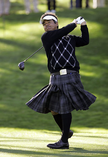 Actor George Lopez played with a Daniel Chopra wig and kilt.