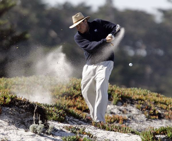 ESPN's Chris Berman found trouble in an ice plant on a sand dune at Spyglass Hill.
