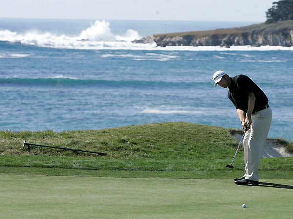 Dustin Johnson's round included making a two on the par-4 13th at Pebble Beach.